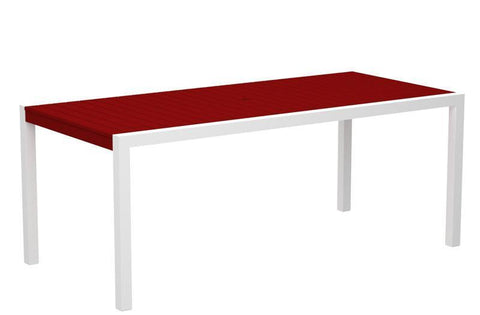 "Polywood 8300-10SR MOD 36"" x 73"" Dining Table in Gloss White Aluminum Frame / Sunset Red - PolyFurnitureStore"