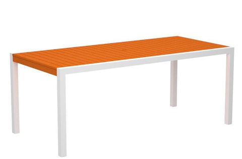 "Polywood 8300-10TA MOD 36"" x 73"" Dining Table in Gloss White Aluminum Frame / Tangerine - PolyFurnitureStore"