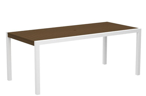 "Polywood 8300-10TE MOD 36"" x 73"" Dining Table in Gloss White Aluminum Frame / Teak - PolyFurnitureStore"
