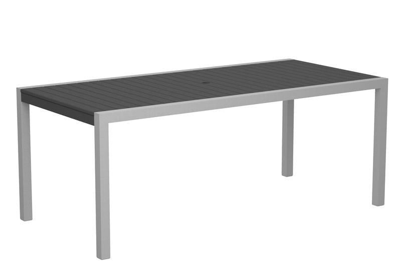 Dining Table Textured Silver Aluminum Frame Slate Grey Mod 1650 Product Photo