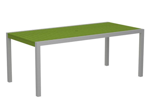 "Polywood 8300-11LI MOD 36"" x 73"" Dining Table in Textured Silver Aluminum Frame / Lime - PolyFurnitureStore"