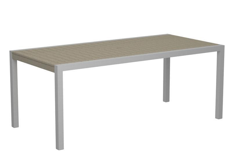 Dining Table Textured Silver Aluminum Frame Sand Mod 1650 Product Photo