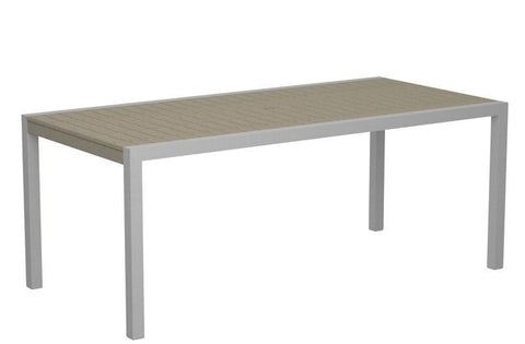 "Polywood 8300-11SA MOD 36"" x 73"" Dining Table in Textured Silver Aluminum Frame / Sand - PolyFurnitureStore"