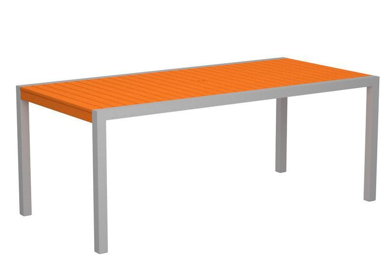Dining Table Textured Silver Aluminum Frame Tangerine Mod 1650 Product Photo