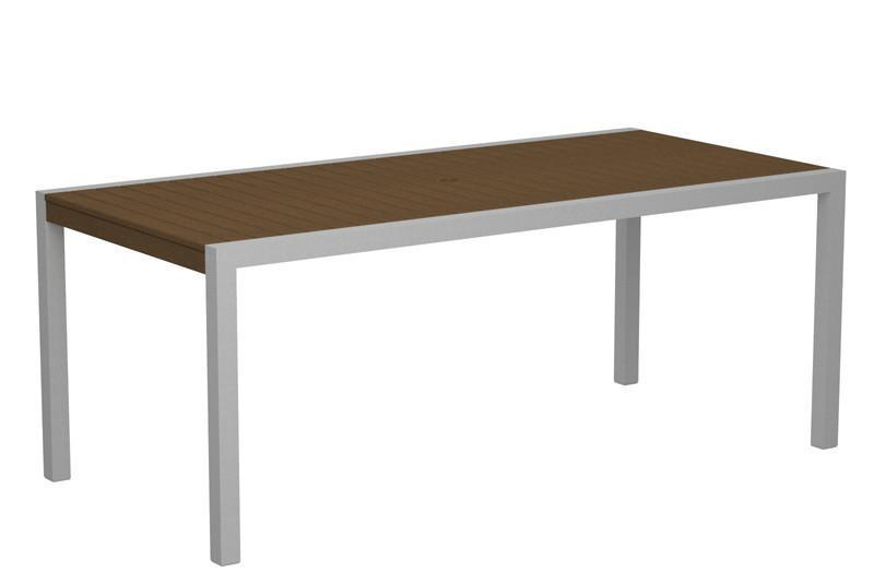 Dining Table Textured Silver Aluminum Frame Teak Mod 1654 Product Photo