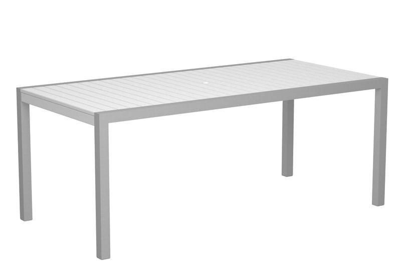 Dining Table Textured Silver Aluminum Frame White Mod 1654 Product Photo