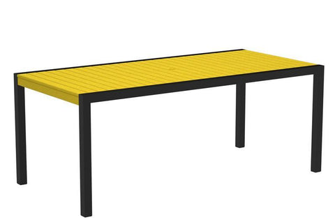 "Polywood 8300-12LE MOD 36"" x 73"" Dining Table in Textured Black Aluminum Frame / Lemon - PolyFurnitureStore"