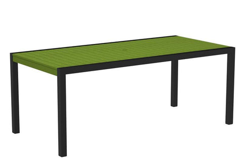 "Polywood 8300-12LI MOD 36"" x 73"" Dining Table in Textured Black Aluminum Frame / Lime - PolyFurnitureStore"
