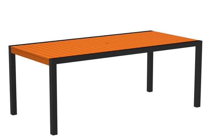Dining Table Textured Black Aluminum Frame Tangerine Mod 1627 Product Photo