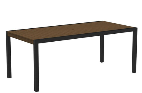 "Polywood 8300-12TE MOD 36"" x 73"" Dining Table in Textured Black Aluminum Frame / Teak - PolyFurnitureStore"