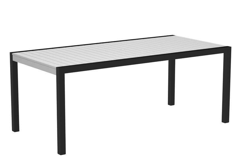 Dining Table Textured Black Aluminum Frame White Mod 1627 Product Photo