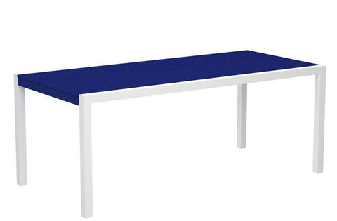 "Polywood 8300-13PB MOD 36"" x 73"" Dining Table in Textured White Aluminum Frame / Pacific Blue - PolyFurnitureStore"