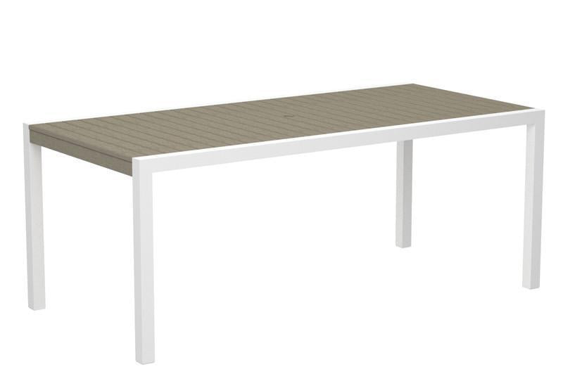 Dining Table Textured White Aluminum Frame Sand 13857 Product Photo