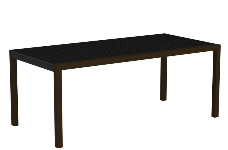 Dining Table Textured Bronze Aluminum Frame Black Mod 1631 Product Photo