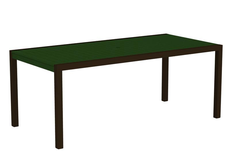 Dining Table Textured Bronze Aluminum Frame Green Mod 1631 Product Photo
