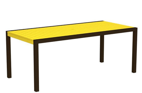 "Polywood 8300-16LE MOD 36"" x 73"" Dining Table in Textured Bronze Aluminum Frame / Lemon - PolyFurnitureStore"