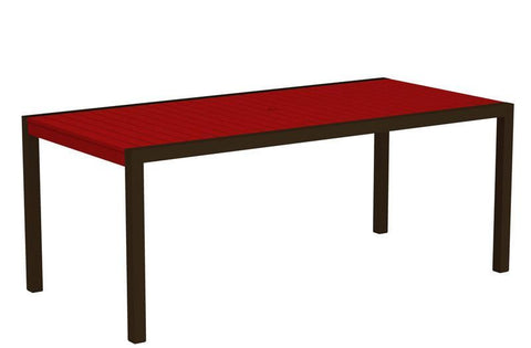 "Polywood 8300-16SR MOD 36"" x 73"" Dining Table in Textured Bronze Aluminum Frame / Sunset Red - PolyFurnitureStore"