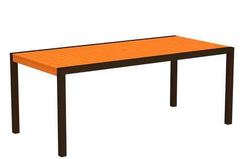 "Polywood 8300-16TA MOD 36"" x 73"" Dining Table in Textured Bronze Aluminum Frame / Tangerine - PolyFurnitureStore"