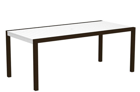"Polywood 8300-16WH MOD 36"" x 73"" Dining Table in Textured Bronze Aluminum Frame / White - PolyFurnitureStore"