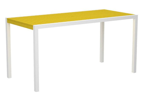 "Polywood 8301-10LE MOD 36"" x 73"" Counter Table in Gloss White Aluminum Frame / Lemon - PolyFurnitureStore"