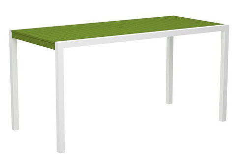 "Polywood 8301-10LI MOD 36"" x 73"" Counter Table in Gloss White Aluminum Frame / Lime - PolyFurnitureStore"