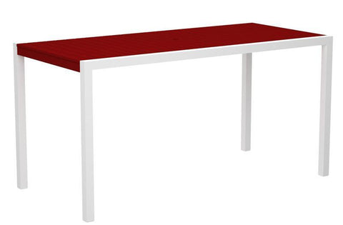 "Polywood 8301-10SR MOD 36"" x 73"" Counter Table in Gloss White Aluminum Frame / Sunset Red - PolyFurnitureStore"