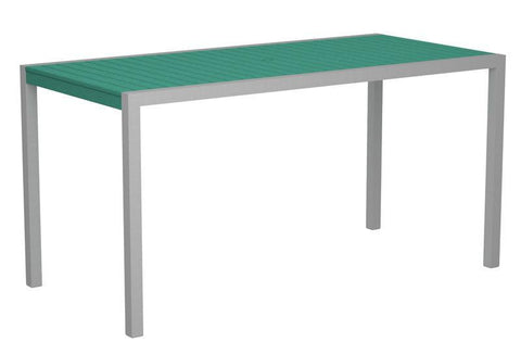 "Polywood 8301-11AR MOD 36"" x 73"" Counter Table in Textured Silver Aluminum Frame / Aruba - PolyFurnitureStore"