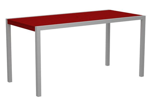 "Polywood 8301-11SR MOD 36"" x 73"" Counter Table in Textured Silver Aluminum Frame / Sunset Red - PolyFurnitureStore"