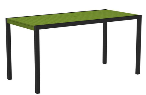 "Polywood 8301-12LI MOD 36"" x 73"" Counter Table in Textured Black Aluminum Frame / Lime - PolyFurnitureStore"