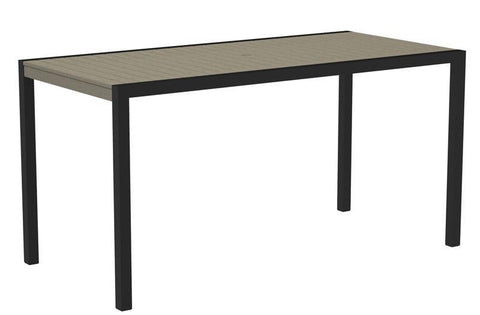 "Polywood 8301-12SA MOD 36"" x 73"" Counter Table in Textured Black Aluminum Frame / Sand - PolyFurnitureStore"