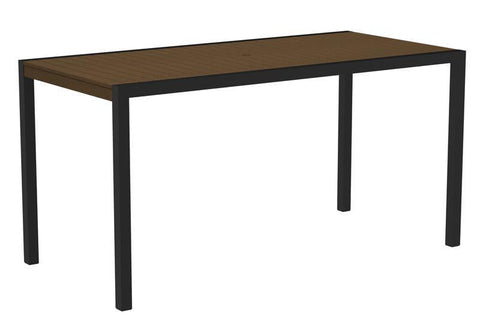 "Polywood 8301-12TE MOD 36"" x 73"" Counter Table in Textured Black Aluminum Frame / Teak - PolyFurnitureStore"