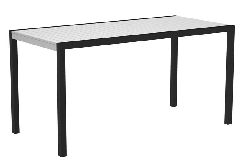 Counter Table Textured Black Aluminum Frame White Mod 1325 Product Photo