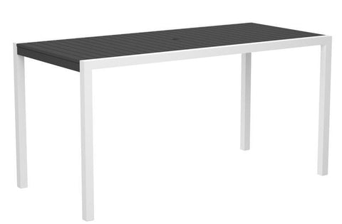"Polywood 8301-13GY MOD 36"" x 73"" Counter Table in Textured White Aluminum Frame / Slate Grey - PolyFurnitureStore"
