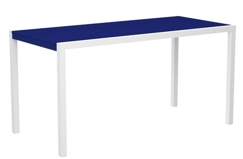 "Polywood 8301-13PB MOD 36"" x 73"" Counter Table in Textured White Aluminum Frame / Pacific Blue - PolyFurnitureStore"