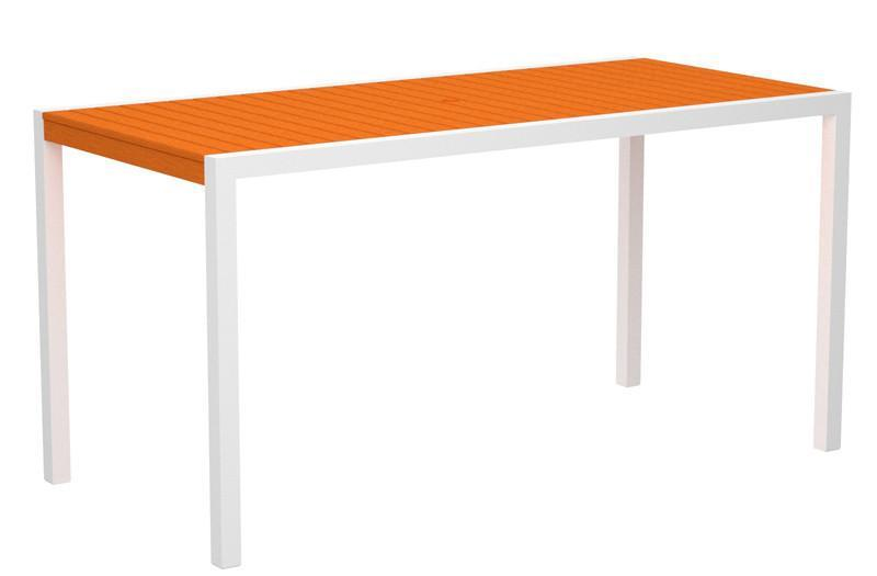 Counter Table Textured White Aluminum Frame Tangerine Mod 1365 Product Photo