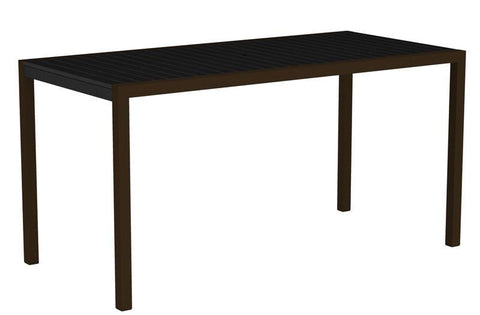"Polywood 8301-16BL MOD 36"" x 73"" Counter Table in Textured Bronze Aluminum Frame / Black - PolyFurnitureStore"