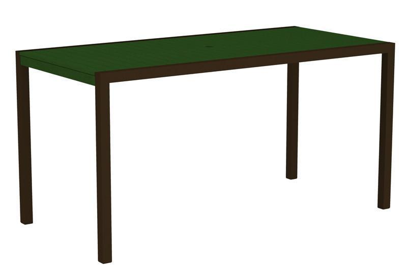 Counter Table Textured Bronze Aluminum Frame Green Mod 1329 Product Photo