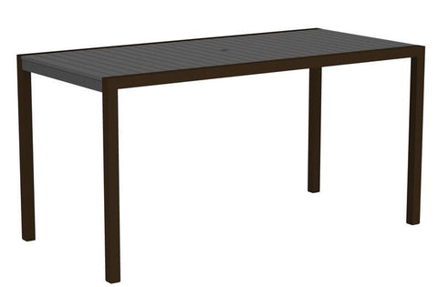 "Polywood 8301-16GY MOD 36"" x 73"" Counter Table in Textured Bronze Aluminum Frame / Slate Grey - PolyFurnitureStore"