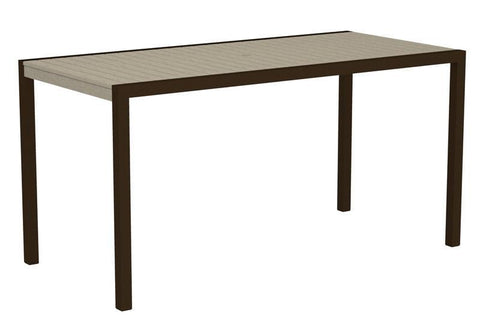 "Polywood 8301-16SA MOD 36"" x 73"" Counter Table in Textured Bronze Aluminum Frame / Sand - PolyFurnitureStore"