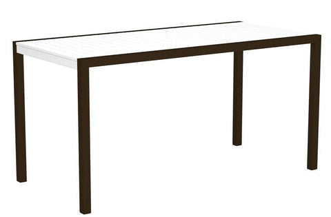 "Polywood 8301-16WH MOD 36"" x 73"" Counter Table in Textured Bronze Aluminum Frame / White - PolyFurnitureStore"