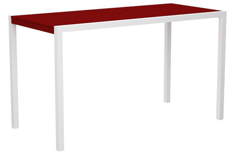"Polywood 8302-10SR MOD 36"" x 73"" Bar Table in Gloss White Aluminum Frame / Sunset Red - PolyFurnitureStore"