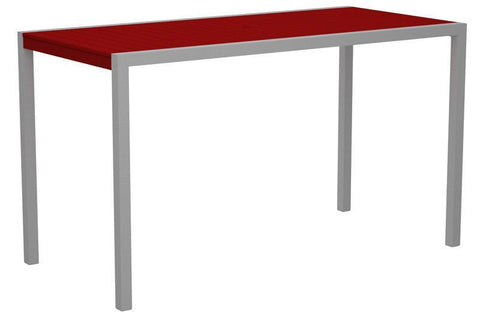 "Polywood 8302-11SR MOD 36"" x 73"" Bar Table in Textured Silver Aluminum Frame / Sunset Red - PolyFurnitureStore"