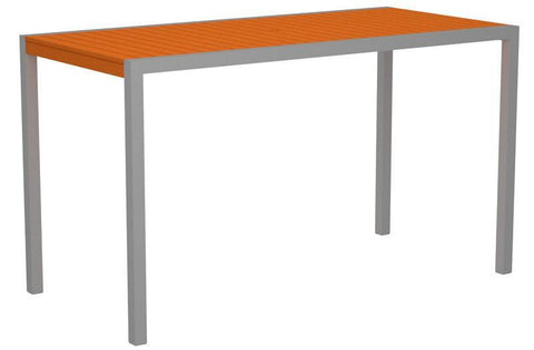 "Polywood 8302-11TA MOD 36"" x 73"" Bar Table in Textured Silver Aluminum Frame / Tangerine - PolyFurnitureStore"