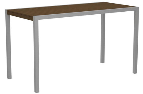 "Polywood 8302-11TE MOD 36"" x 73"" Bar Table in Textured Silver Aluminum Frame / Teak - PolyFurnitureStore"