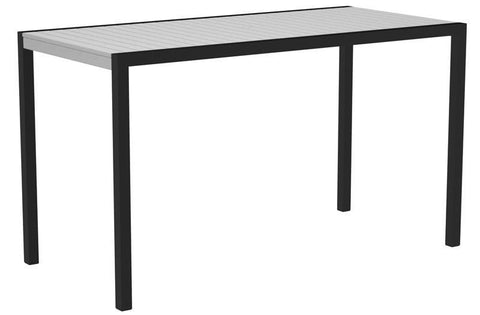 "Polywood 8302-12WH MOD 36"" x 73"" Bar Table in Textured Black Aluminum Frame / White - PolyFurnitureStore"