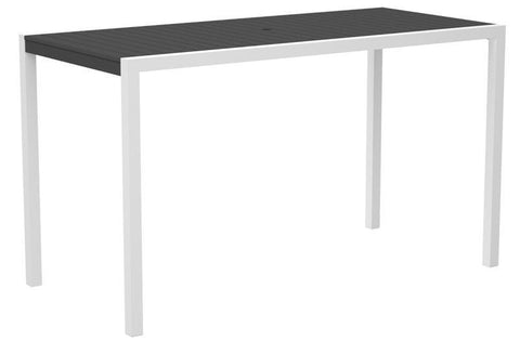 "Polywood 8302-13GY MOD 36"" x 73"" Bar Table in Textured White Aluminum Frame / Slate Grey - PolyFurnitureStore"