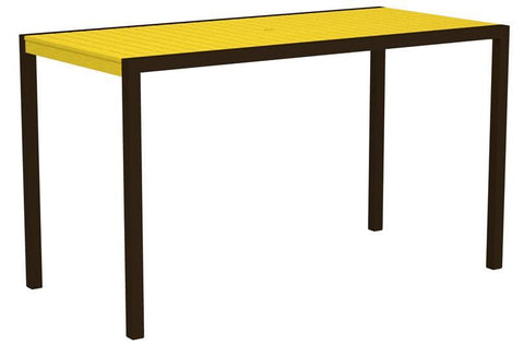 "Polywood 8302-16LE MOD 36"" x 73"" Bar Table in Textured Bronze Aluminum Frame / Lemon - PolyFurnitureStore"