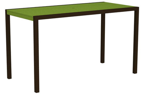 "Polywood 8302-16LI MOD 36"" x 73"" Bar Table in Textured Bronze Aluminum Frame / Lime - PolyFurnitureStore"