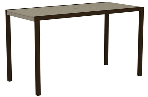 "Polywood 8302-16SA MOD 36"" x 73"" Bar Table in Textured Bronze Aluminum Frame / Sand - PolyFurnitureStore"