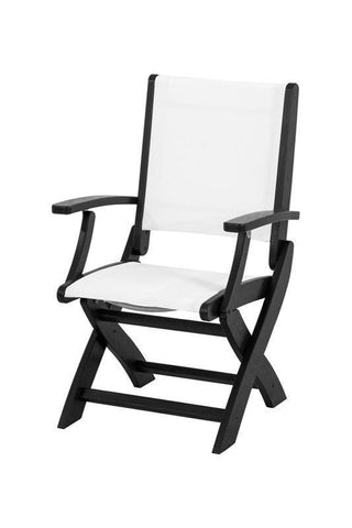 Polywood 9000-BL901 Coastal Folding Chair in Black / White Sling - PolyFurnitureStore